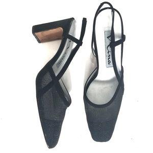 Nina   Black Mesh Square Toe Chunky Heel Slingback